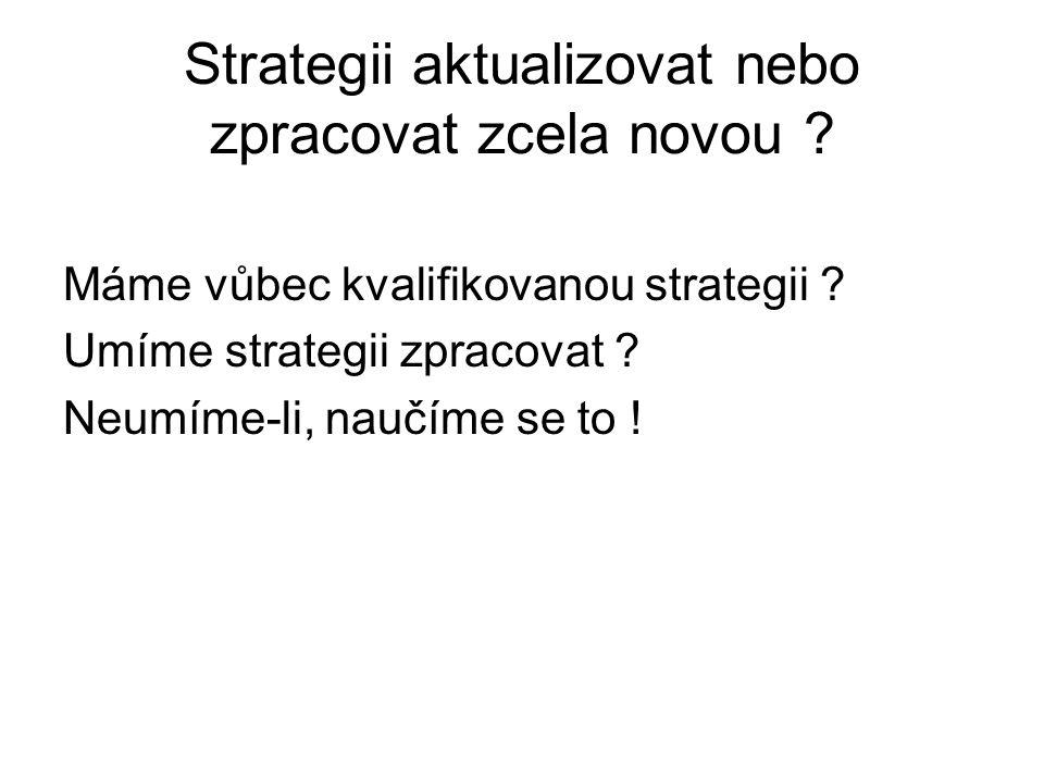 Strategii aktualizovat nebo zpracovat zcela novou
