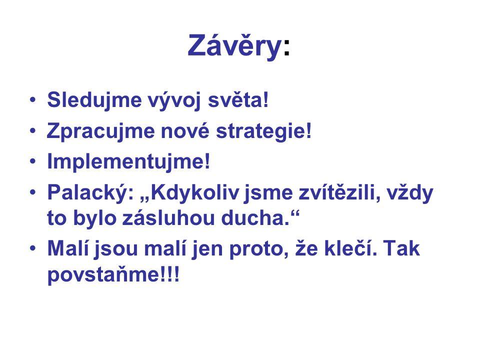 Závěry: Sledujme vývoj světa! Zpracujme nové strategie! Implementujme!