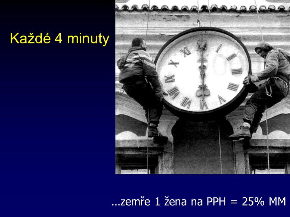 Každé 4 minuty …zemře 1 žena na PPH = 25% MM 16