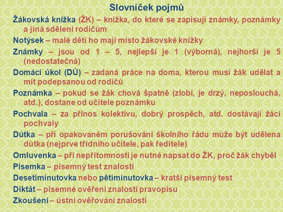 Slovníček pojmů Žákovská knížka (ŽK) – knížka, do které se zapisují známky, poznámky a jiná sdělení rodičům.