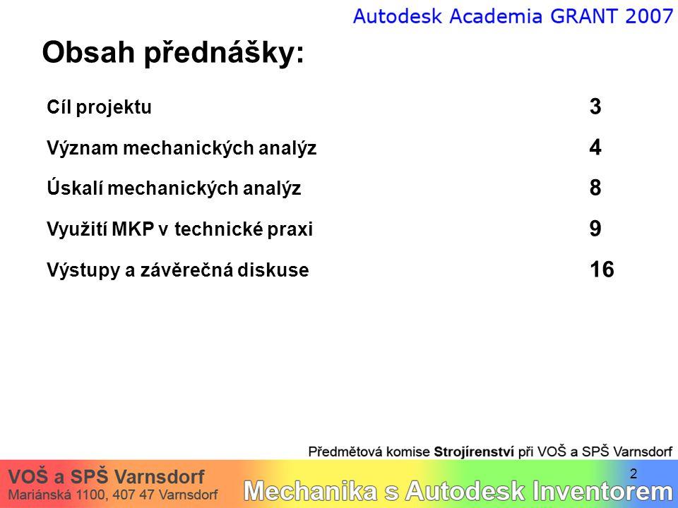 Obsah přednášky: Cíl projektu 3 Význam mechanických analýz 4