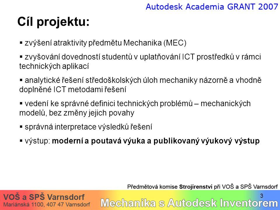 Cíl projektu: zvýšení atraktivity předmětu Mechanika (MEC)