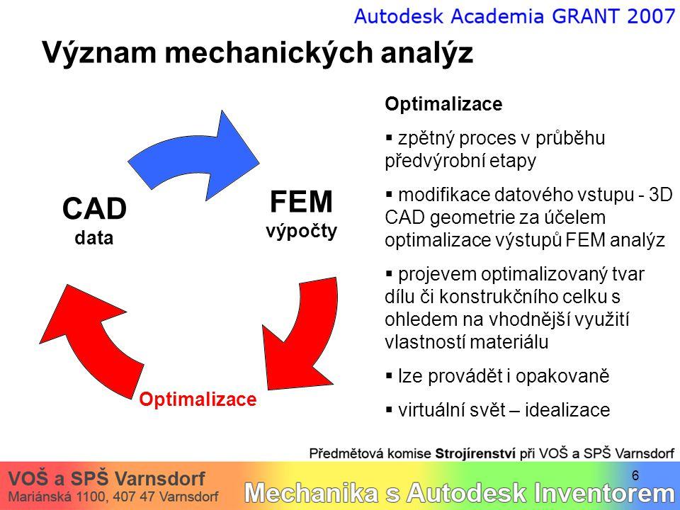 Význam mechanických analýz