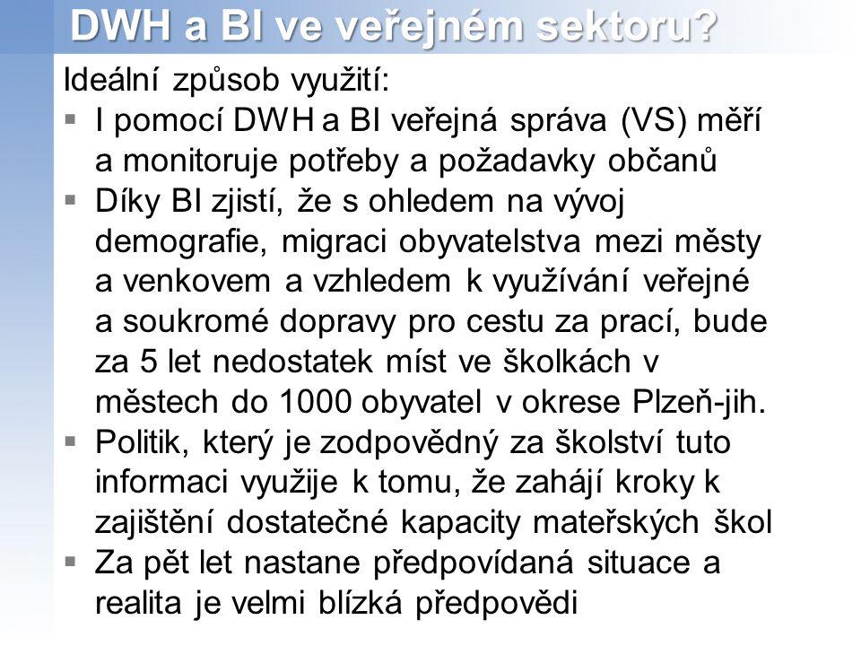 DWH a BI ve veřejném sektoru