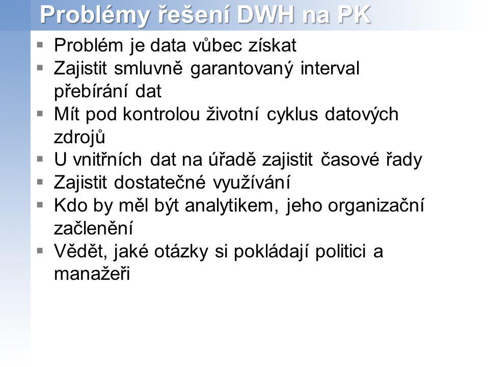 Problémy řešení DWH na PK
