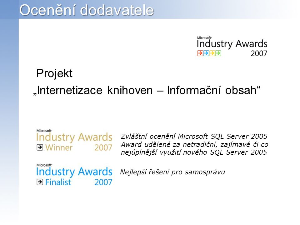 """Ocenění dodavatele Projekt """"Internetizace knihoven – Informační obsah"""