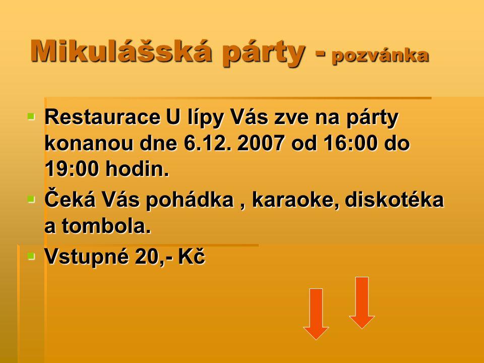 Mikulášská párty - pozvánka