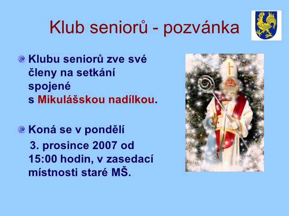 Klub seniorů - pozvánka