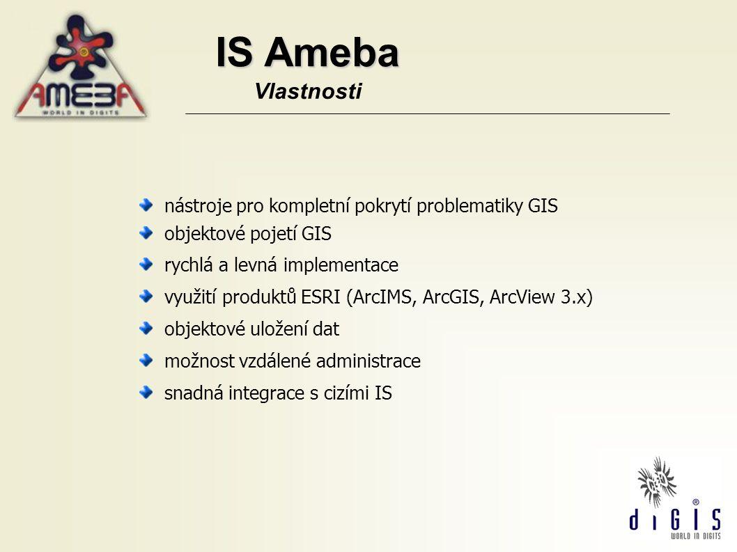 IS Ameba Vlastnosti nástroje pro kompletní pokrytí problematiky GIS