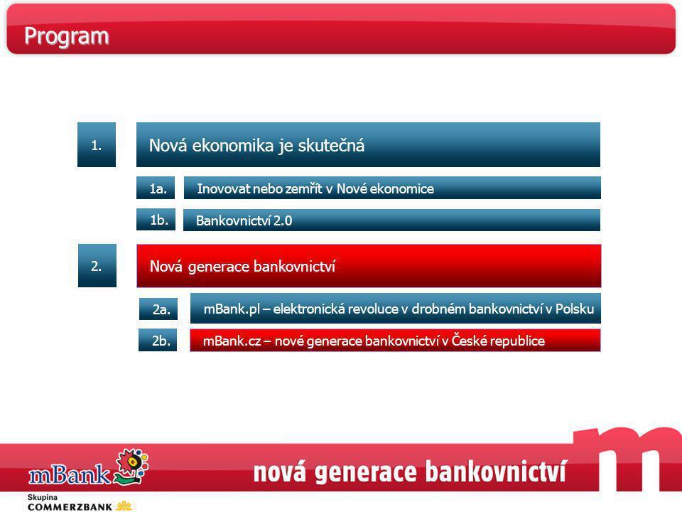 Program Nová ekonomika je skutečná Nová generace bankovnictví 1. 1a.