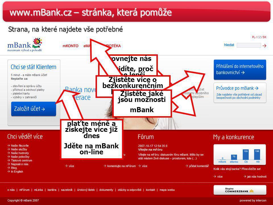 www.mBank.cz – stránka, která pomůže