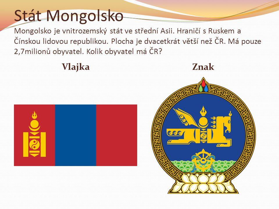 Stát Mongolsko Mongolsko je vnitrozemský stát ve střední Asii