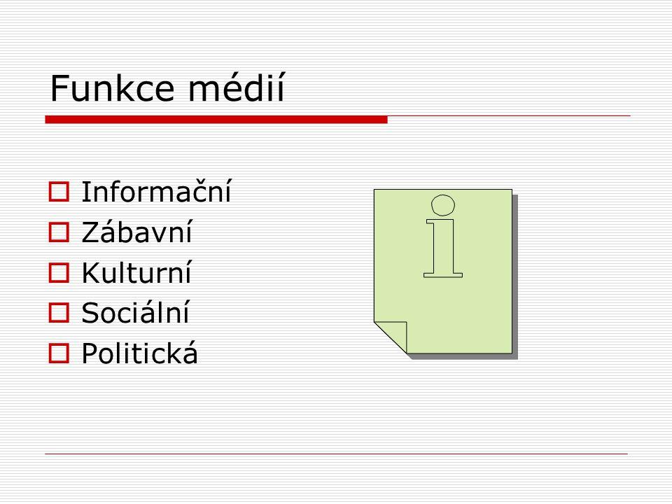 Funkce médií Informační Zábavní Kulturní Sociální Politická