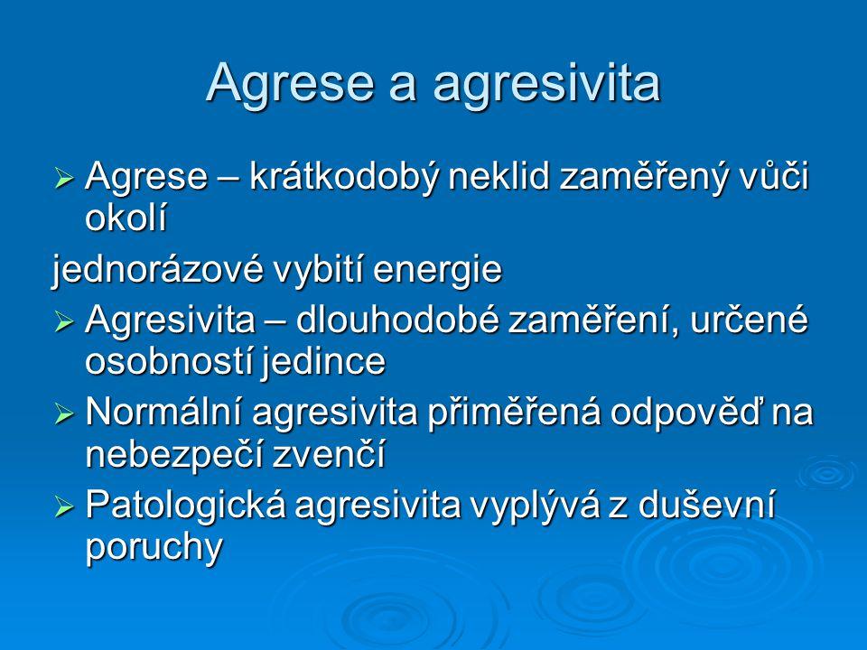Agrese a agresivita Agrese – krátkodobý neklid zaměřený vůči okolí