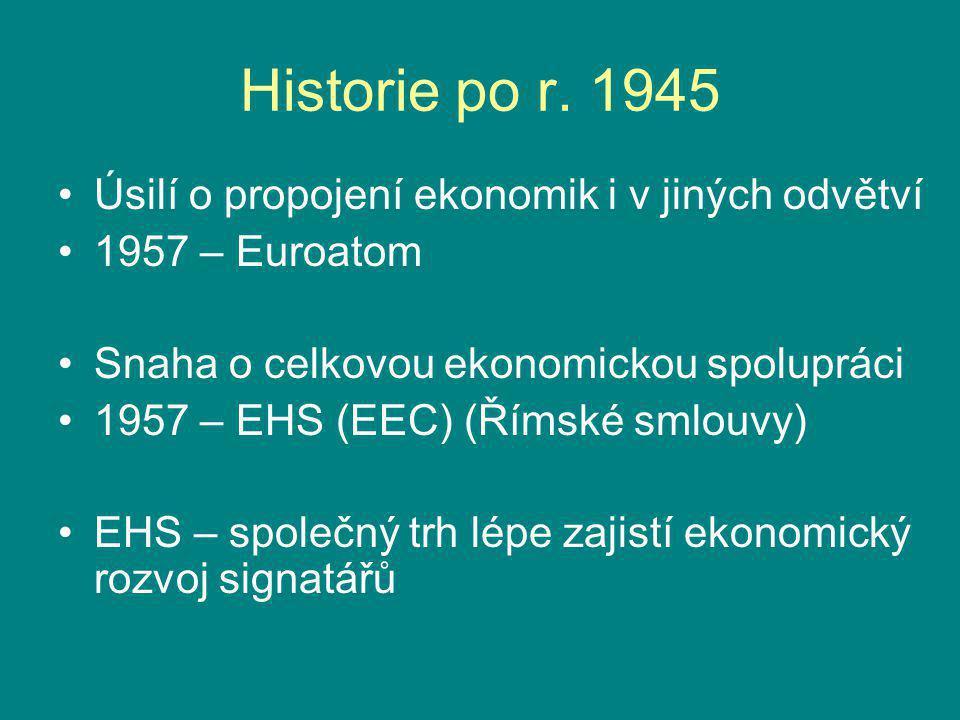 Historie po r. 1945 Úsilí o propojení ekonomik i v jiných odvětví