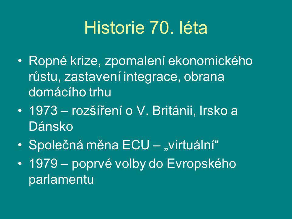 Historie 70. léta Ropné krize, zpomalení ekonomického růstu, zastavení integrace, obrana domácího trhu.