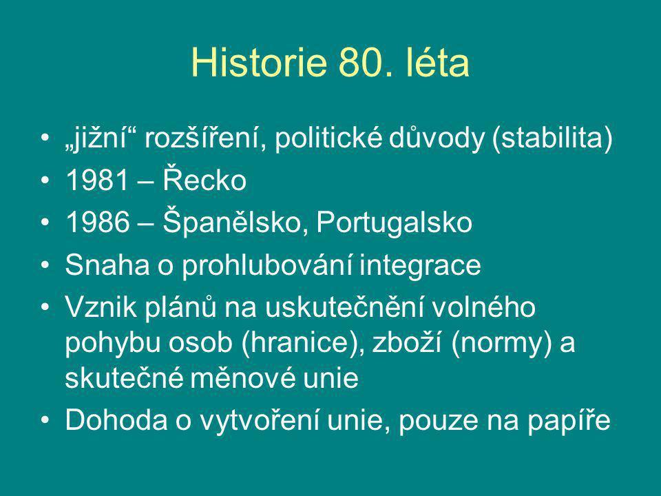 """Historie 80. léta """"jižní rozšíření, politické důvody (stabilita)"""