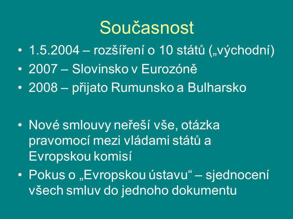 """Současnost 1.5.2004 – rozšíření o 10 států (""""východní)"""