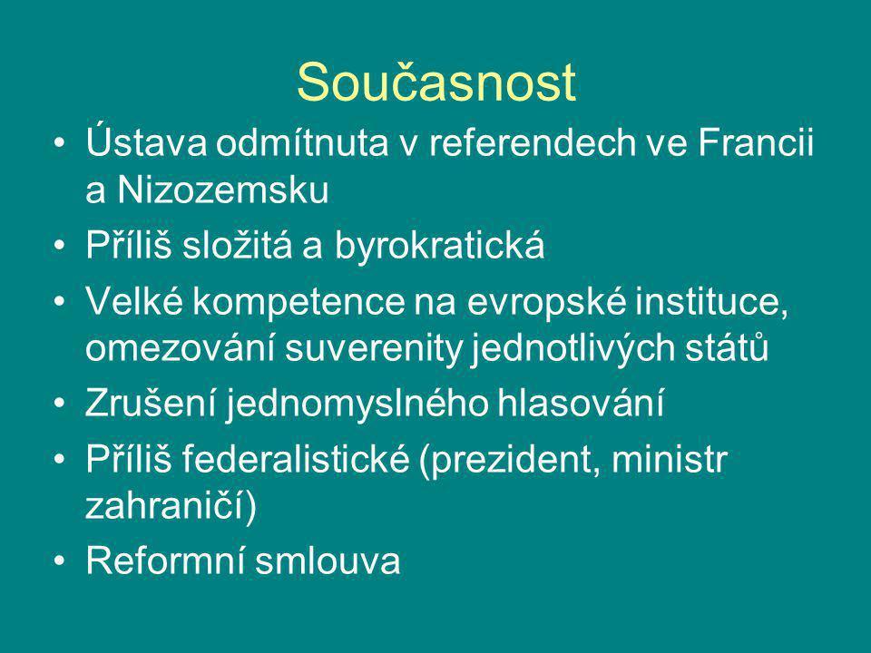 Současnost Ústava odmítnuta v referendech ve Francii a Nizozemsku