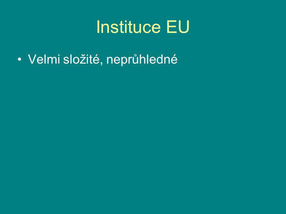 Instituce EU Velmi složité, neprůhledné