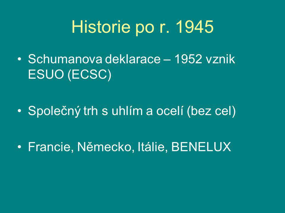 Historie po r. 1945 Schumanova deklarace – 1952 vznik ESUO (ECSC)