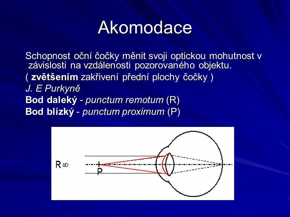 Akomodace Schopnost oční čočky měnit svoji optickou mohutnost v závislosti na vzdálenosti pozorovaného objektu.