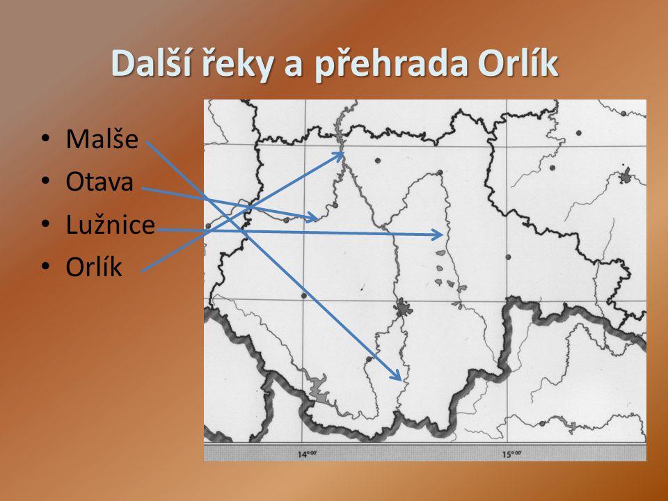 Další řeky a přehrada Orlík