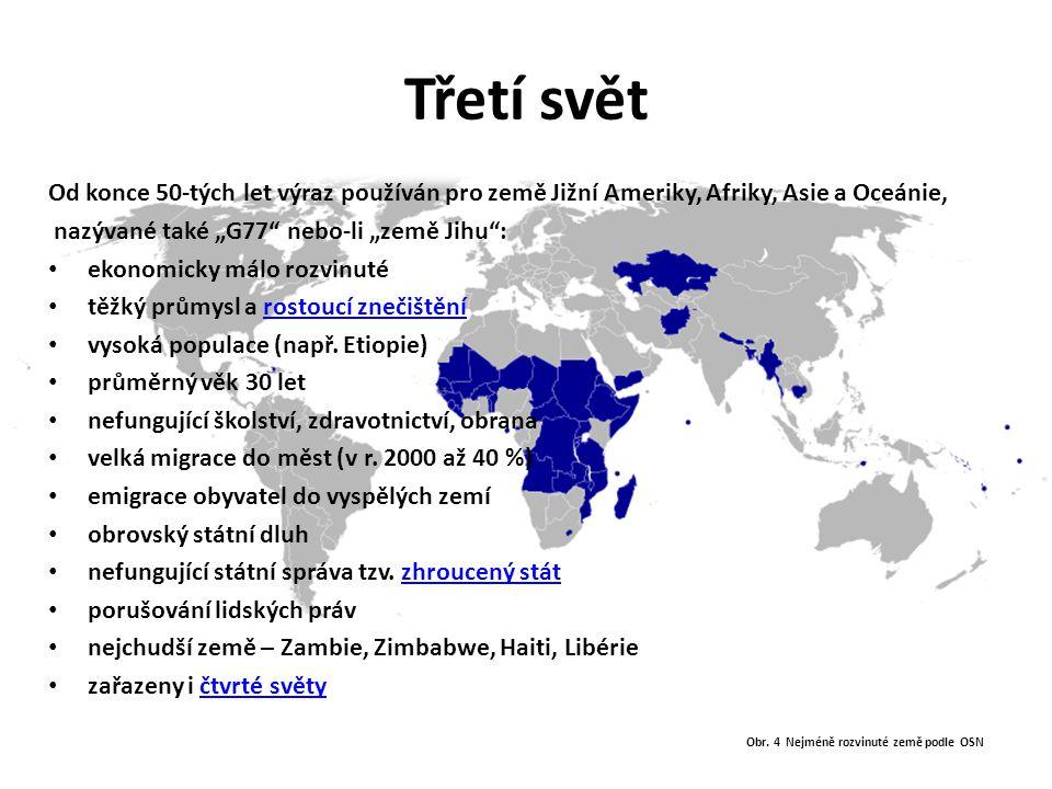 Obr. 4 Nejméně rozvinuté země podle OSN