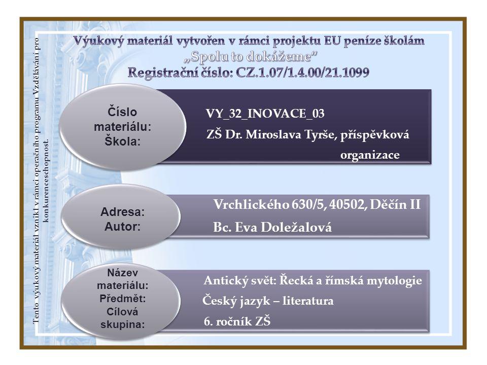 ZŠ Dr. Miroslava Tyrše, příspěvková Český jazyk – literatura