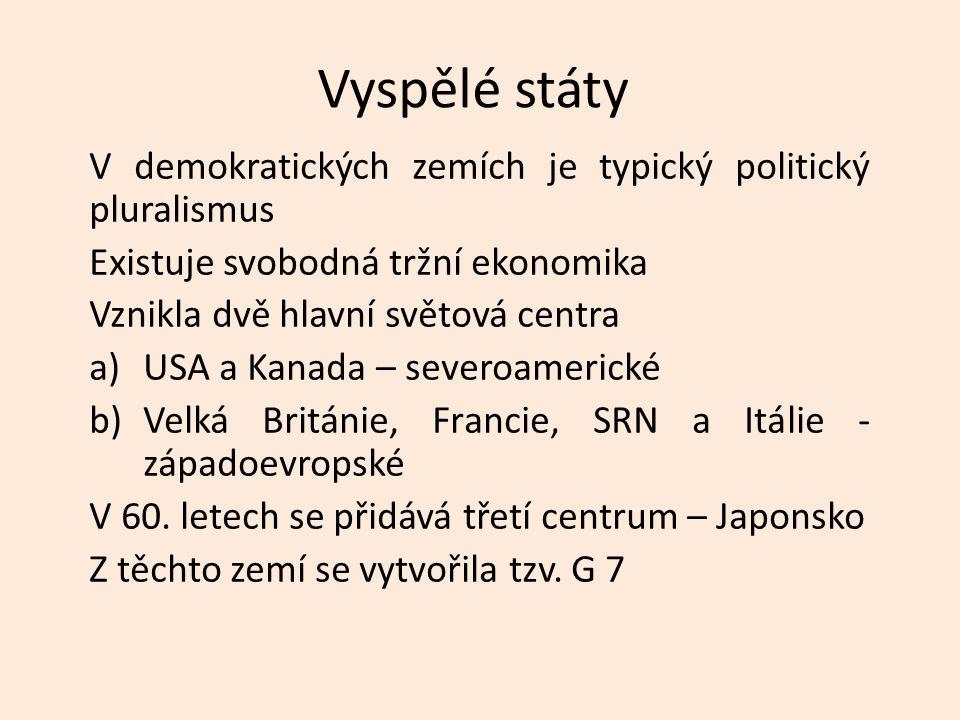 Vyspělé státy V demokratických zemích je typický politický pluralismus