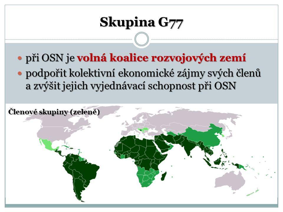 Skupina G77 při OSN je volná koalice rozvojových zemí