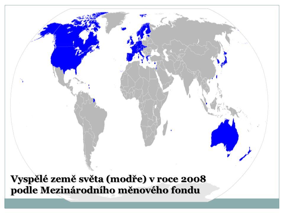 Vyspělé země světa (modře) v roce 2008 podle Mezinárodního měnového fondu
