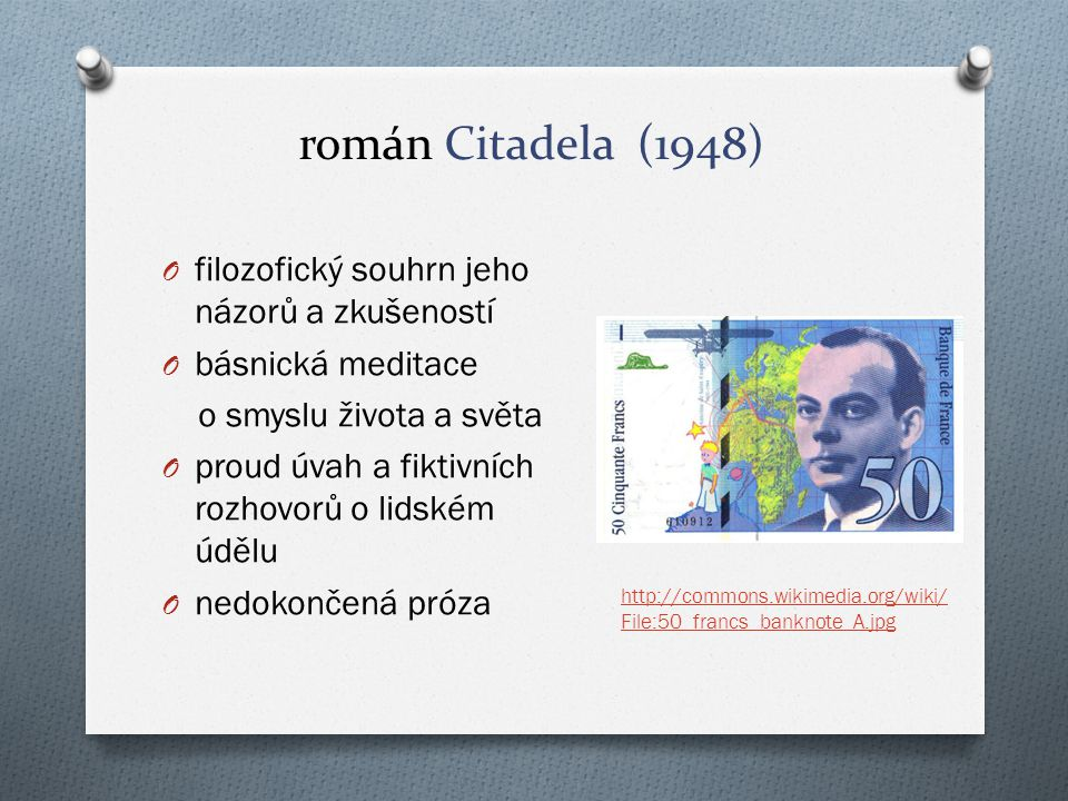 román Citadela (1948) filozofický souhrn jeho názorů a zkušeností