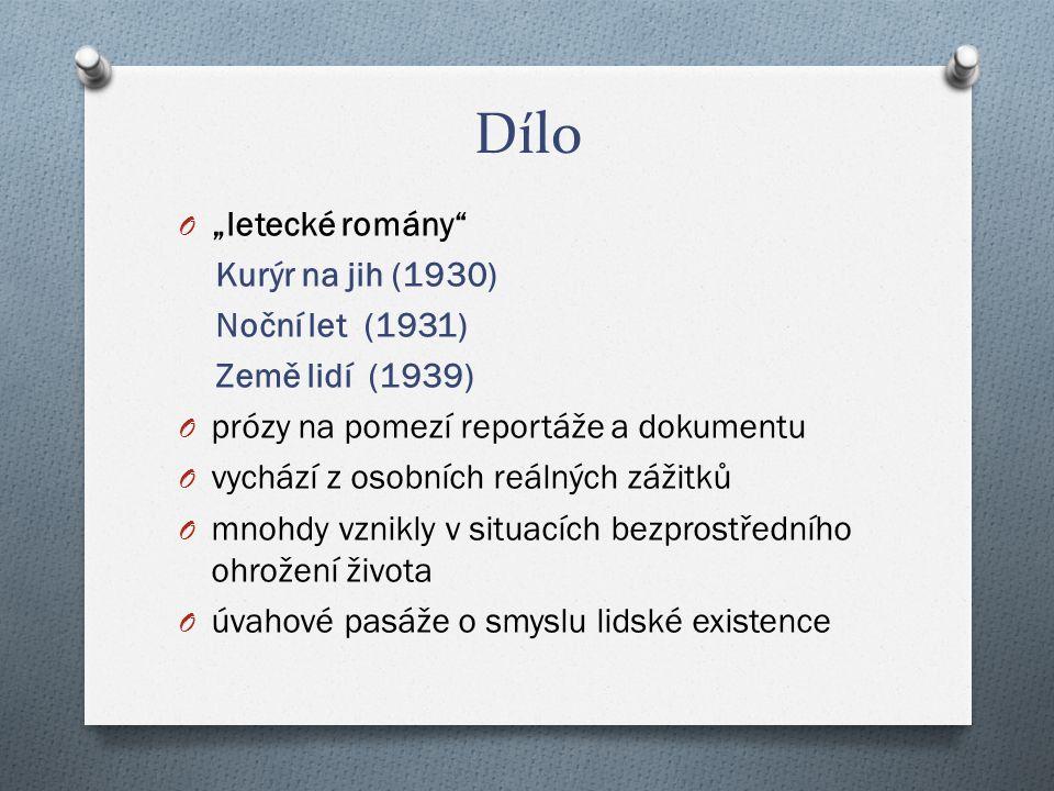 """Dílo """"letecké romány Kurýr na jih (1930) Noční let (1931)"""
