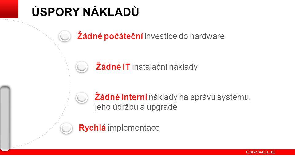 ÚSPORY NÁKLADŮ Žádné počáteční investice do hardware