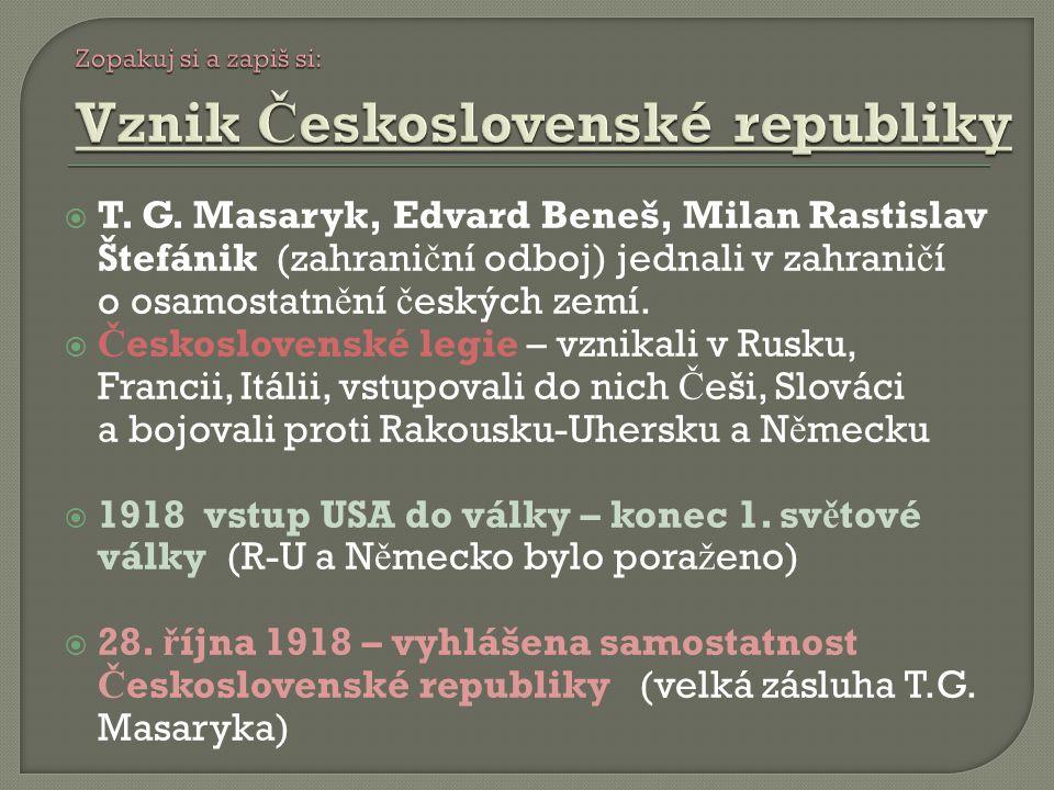 Zopakuj si a zapiš si: Vznik Československé republiky.