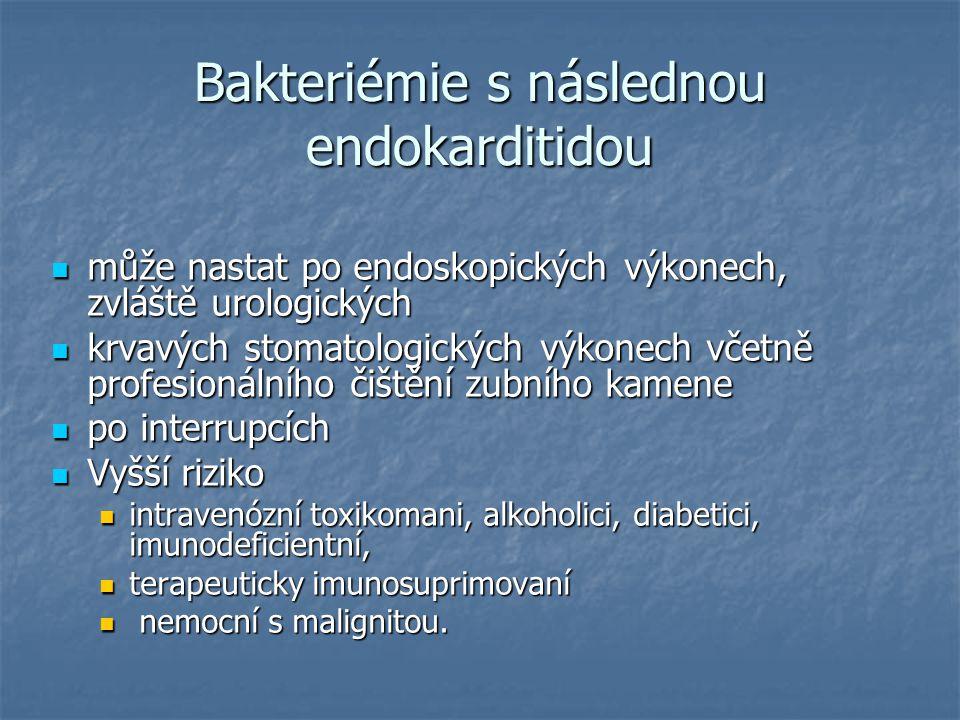 Bakteriémie s následnou endokarditidou