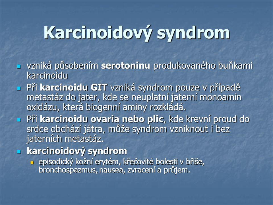 Karcinoidový syndrom vzniká působením serotoninu produkovaného buňkami karcinoidu.