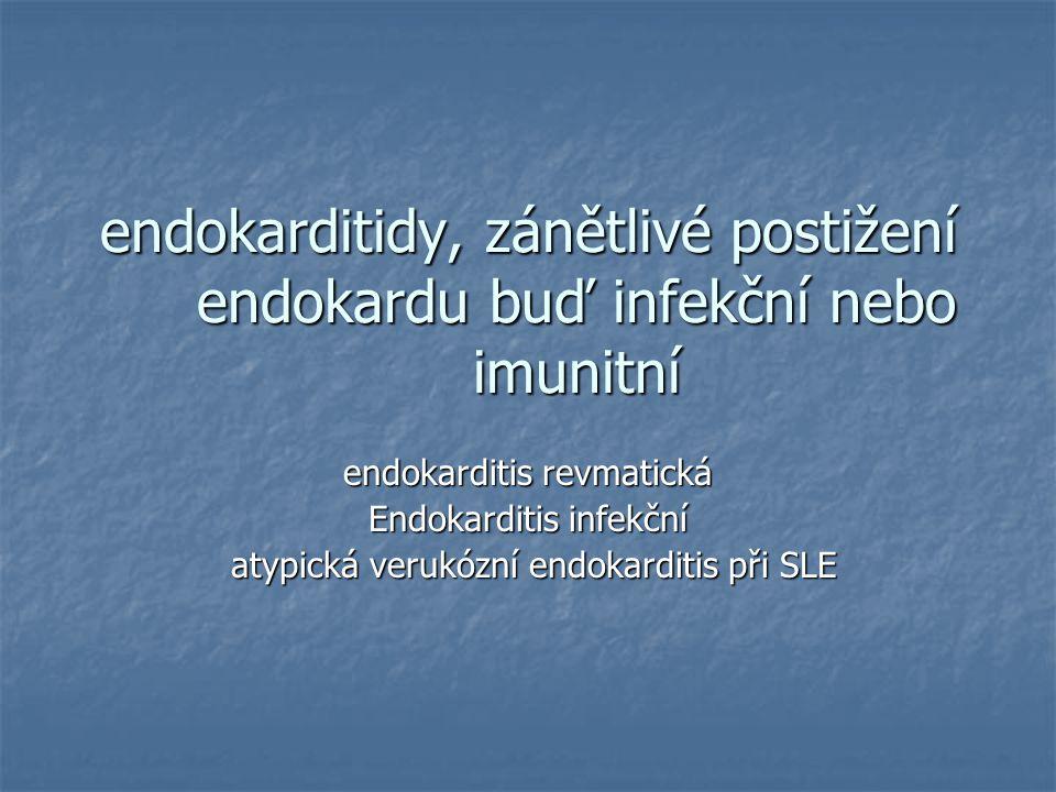 endokarditidy, zánětlivé postižení endokardu buď infekční nebo imunitní