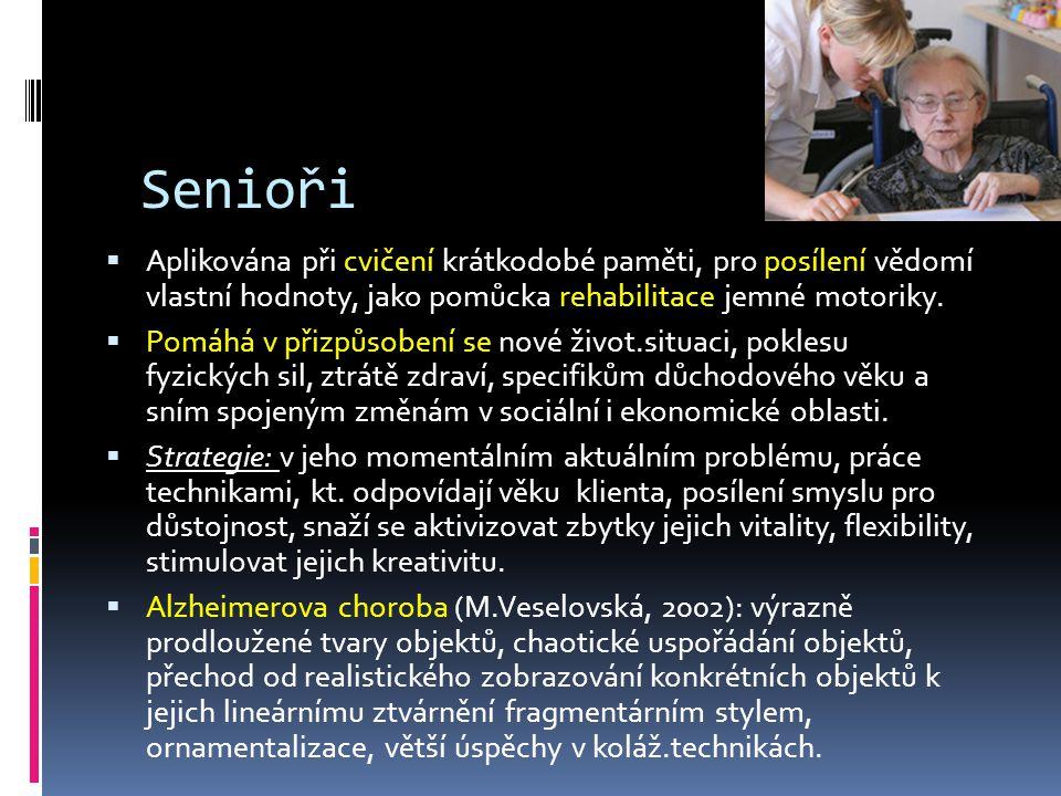 Senioři Aplikována při cvičení krátkodobé paměti, pro posílení vědomí vlastní hodnoty, jako pomůcka rehabilitace jemné motoriky.