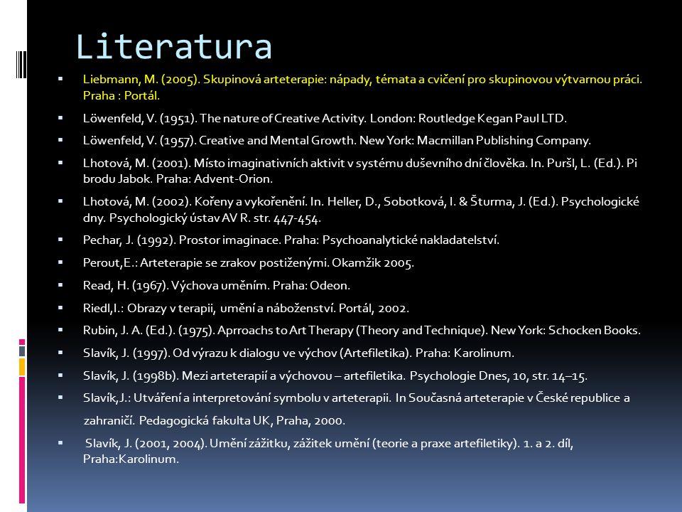 Literatura Liebmann, M. (2005). Skupinová arteterapie: nápady, témata a cvičení pro skupinovou výtvarnou práci. Praha : Portál.