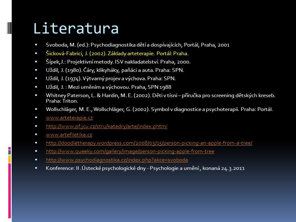 Literatura Svoboda, M. (ed.): Psychodiagnostika dětí a dospívajících, Portál, Praha, 2001.