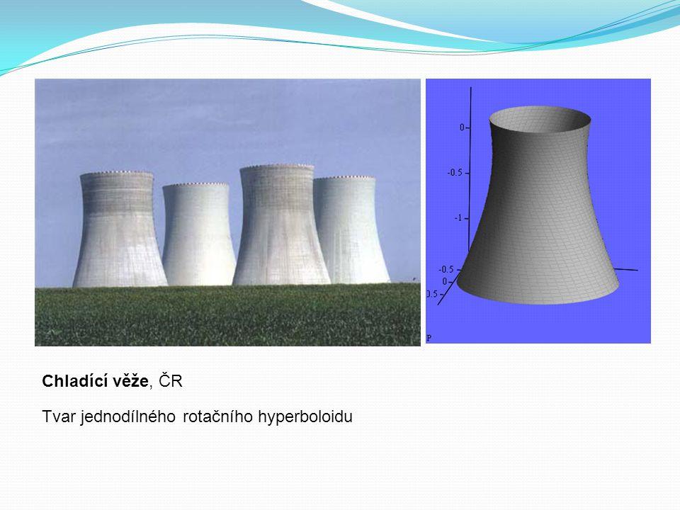 Chladící věže, ČR Tvar jednodílného rotačního hyperboloidu