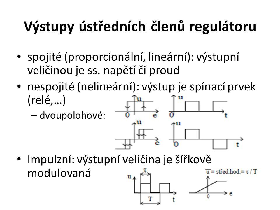 Výstupy ústředních členů regulátoru