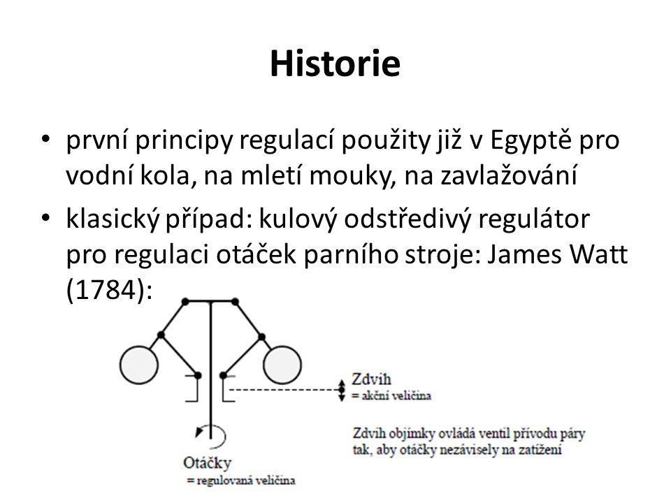 Historie první principy regulací použity již v Egyptě pro vodní kola, na mletí mouky, na zavlažování.