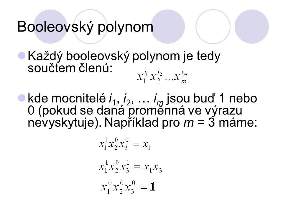 Booleovský polynom Každý booleovský polynom je tedy součtem členů: