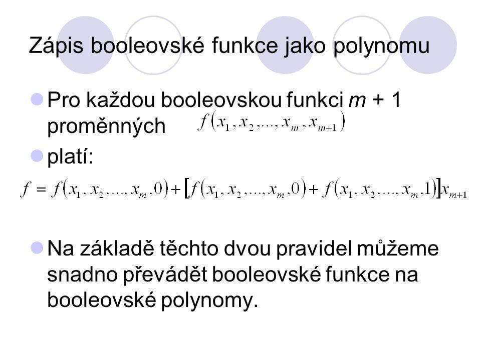 Zápis booleovské funkce jako polynomu