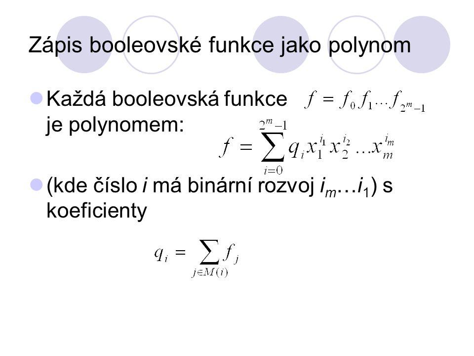 Zápis booleovské funkce jako polynom