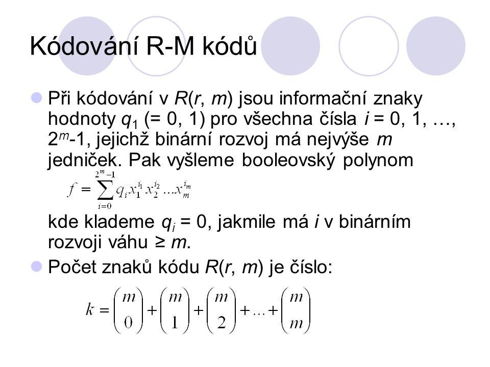 Kódování R-M kódů
