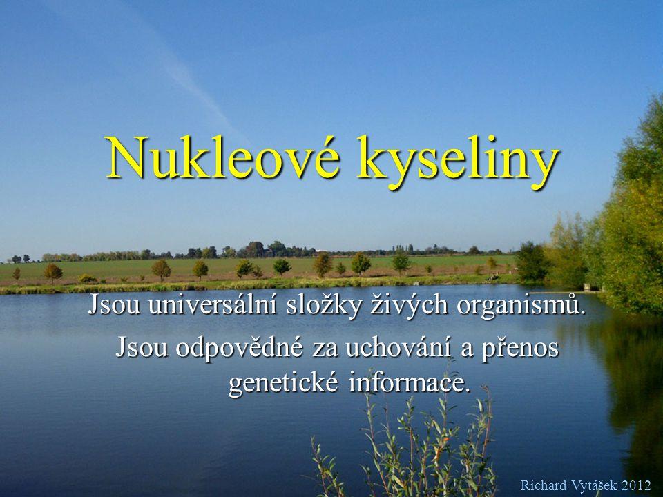 Nukleové kyseliny Jsou universální složky živých organismů.